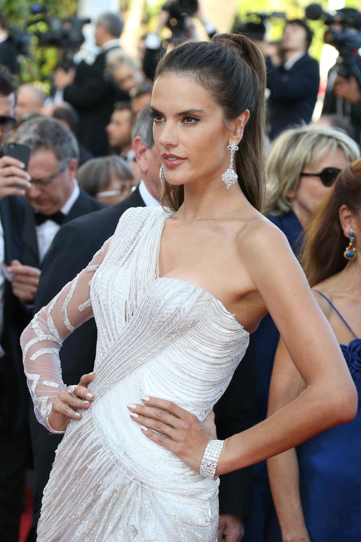 Model Alessandra Ambrosio wore white diamonds by Chopard to complement her Atelier Versace gown on day seven of the Cannes Film Festival