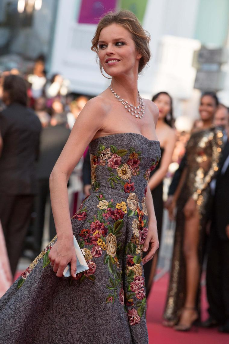 Model Eva Herzigova walked the red carpet at the Cannes Film Festival wearing a three-tier diamond necklace by Chopard featuring 76ct of fancy-cut diamonds