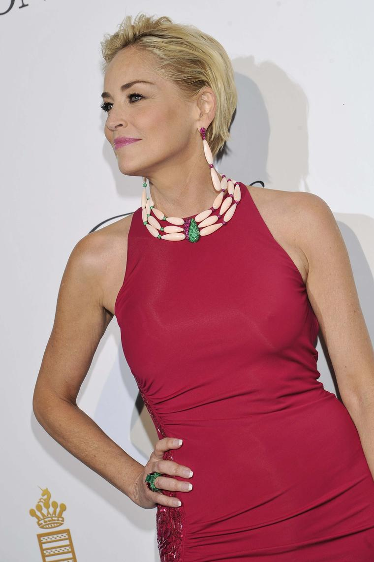 Sharon Stone, a regular at De GRISOGONO's Eden Roc party, dressed up her Roberto Cavalli dress with statement De GRISOGONO jewels