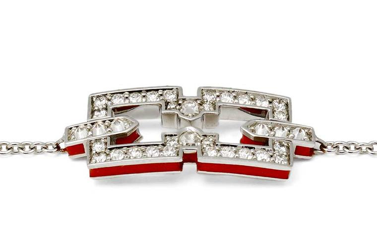 Raphaele Canot Skinny Deco collection Icon white gold bracelet featuring pavé white diamonds and red coral enamel