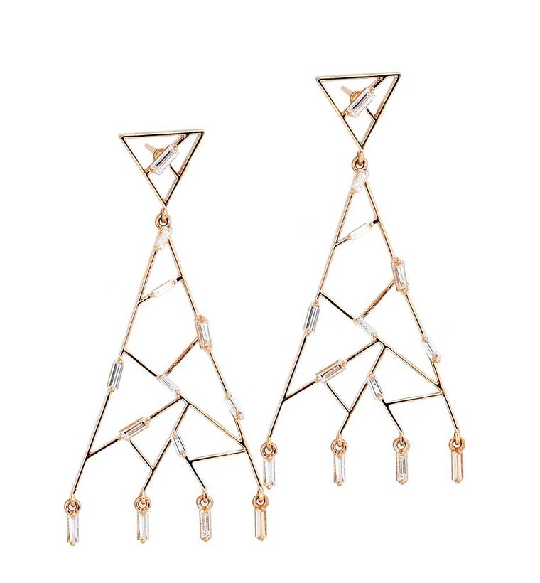 Suzanne Kalan rose gold Vitrine earrings with baguette diamonds ($5,600)