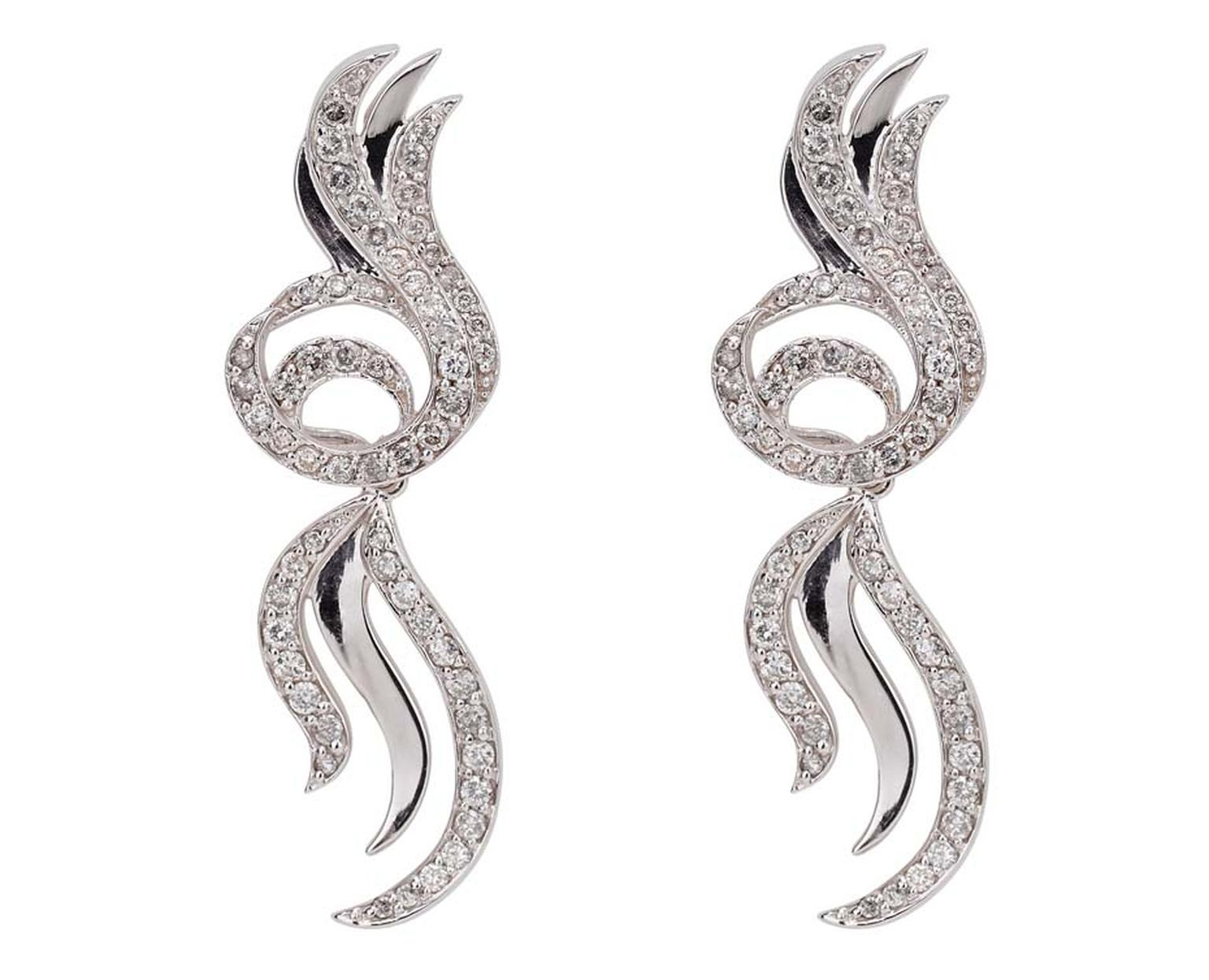 Deborah Pagani gold and grey diamond detachable earrings, available at Latest Revival.