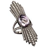 Deborah Pagani Talula ring with Rose de France amethyst and grey diamonds, available at Latest Revival