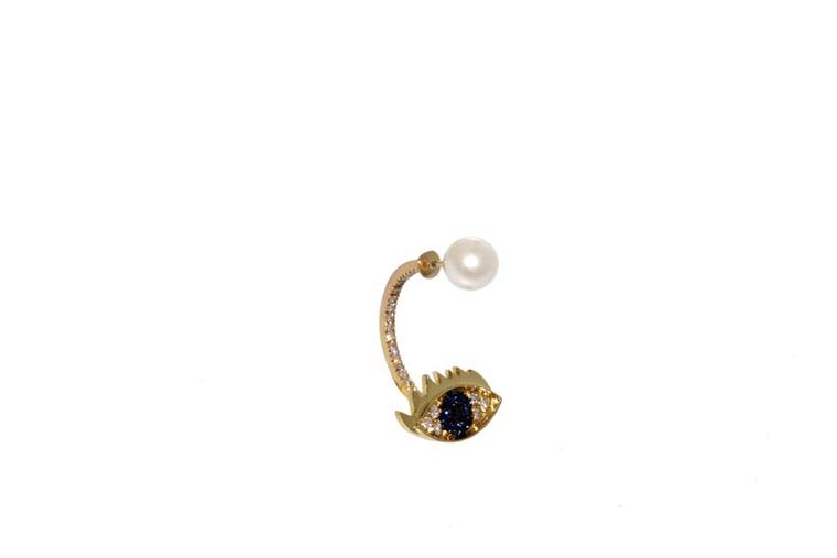 Delfina Delettrez sapphire and diamond Cartoon Eye earring, available at Latest Revival