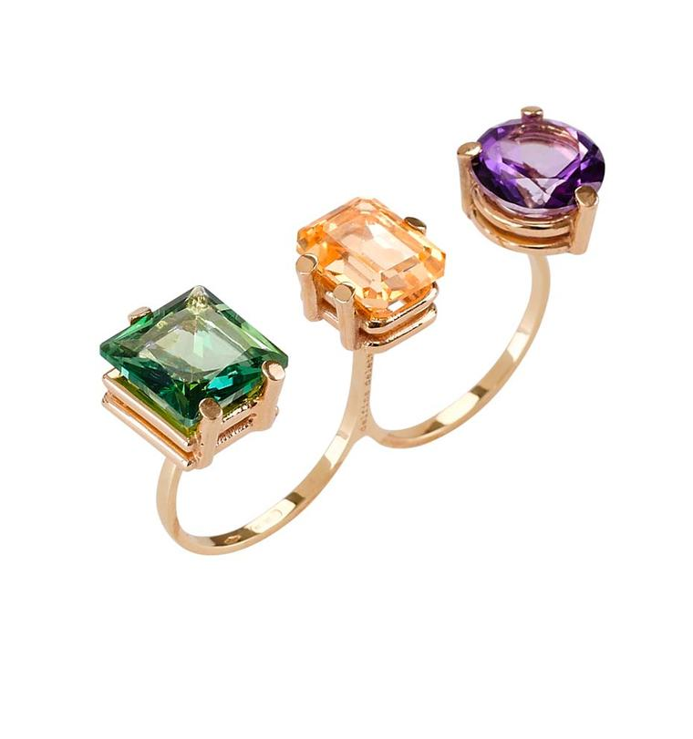 Delfina Delettrez Triple Topaz Stone ring, available at Latest Revival