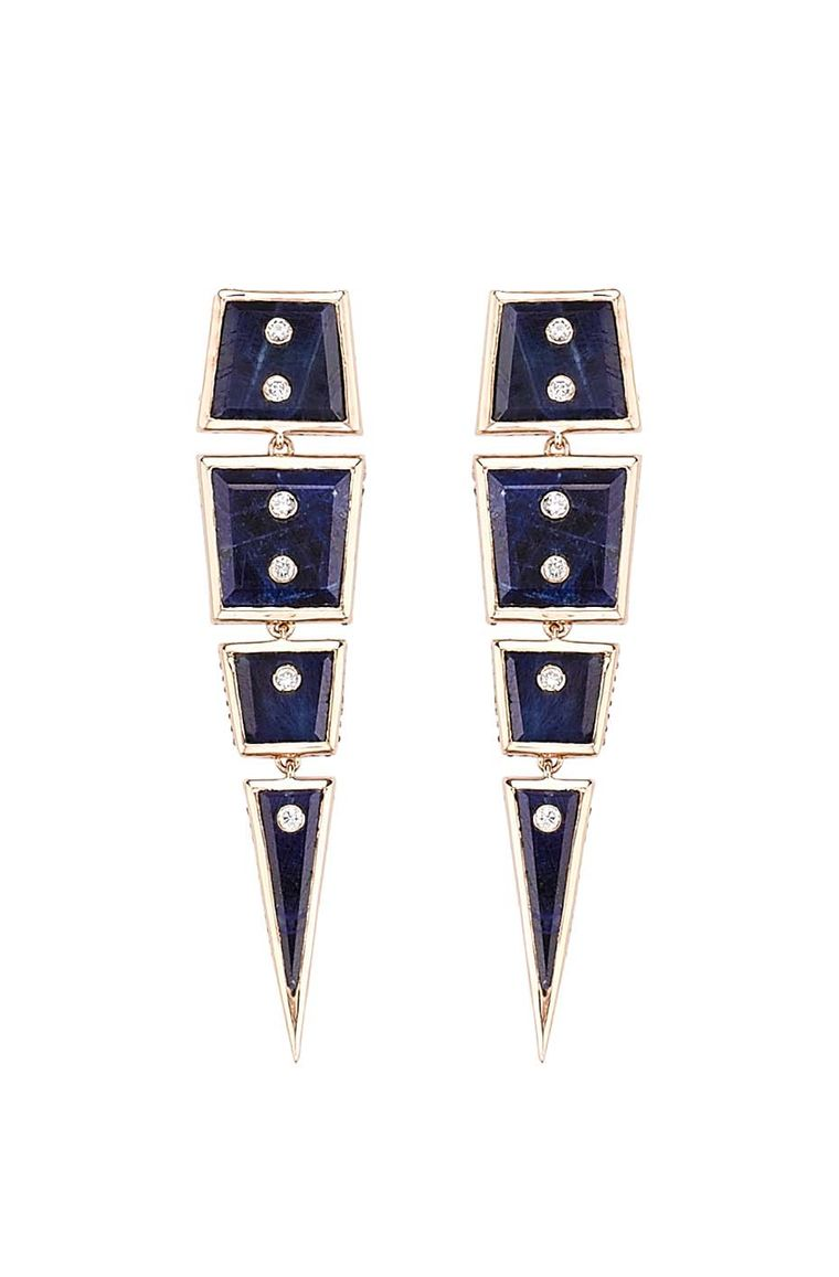 Gold Machu Picchu earrings with blue sapphires (18.24ct) and champagne-cut diamonds, available at Latest Revival.