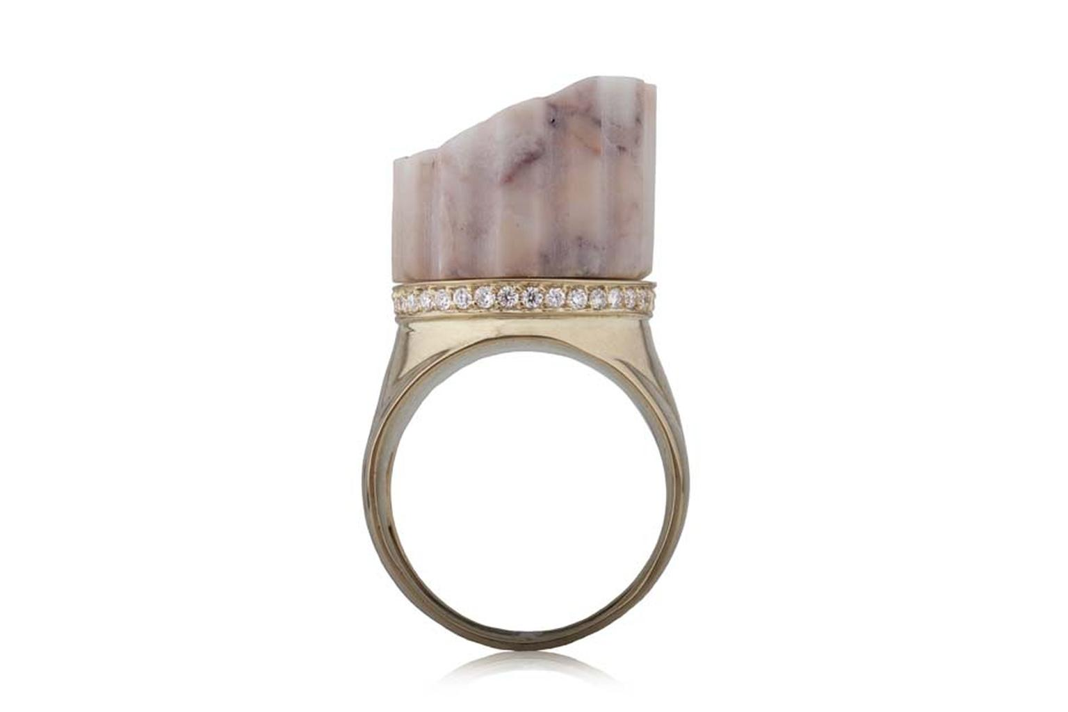 Maiyet gold geometric cage bangle featuring rose cut champagne diamonds, available at Latest Revival (4.88ct).