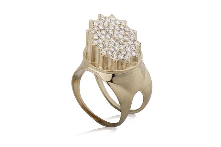 COMPLETEDWORKS Incomplete Column ring in gold with diamonds, available at Latest Revival.