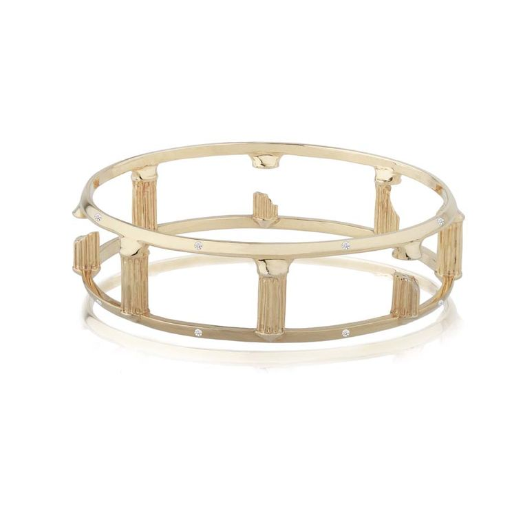 COMPLETEDWORKS  Circular Layout bracelet in gold with diamonds, available at Latest Revival.