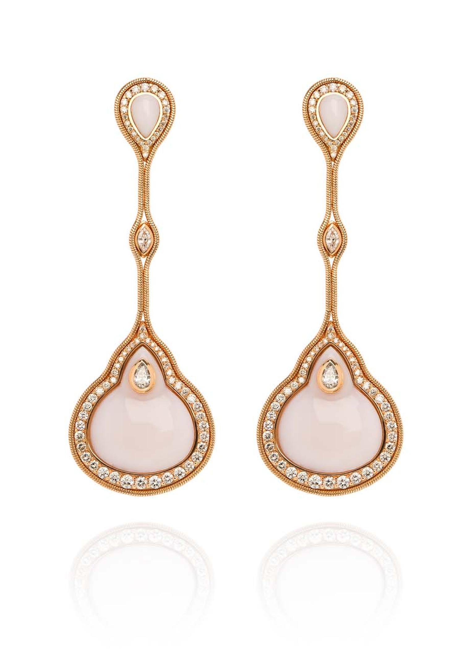 Fernando Jorge Fluid earrings with diamonds and pink stones, available at Latest Revival