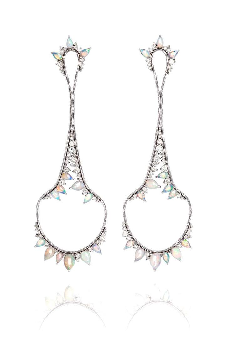 Fernando Jorge Electric earrings with opals and diamonds, available at Latest Revival