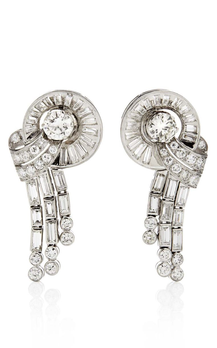 1940s Estate Collection platinum and diamond tassel earrings, available at Latest Revival