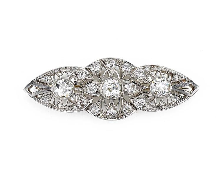 1890s antique platinum and diamond brooch, available at Latest Revival