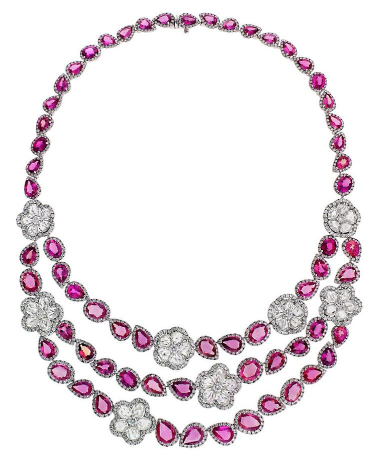The Avakian pink sapphire and diamond necklace worn by Kelly Preston on day seven of the Cannes Film Festival 2014