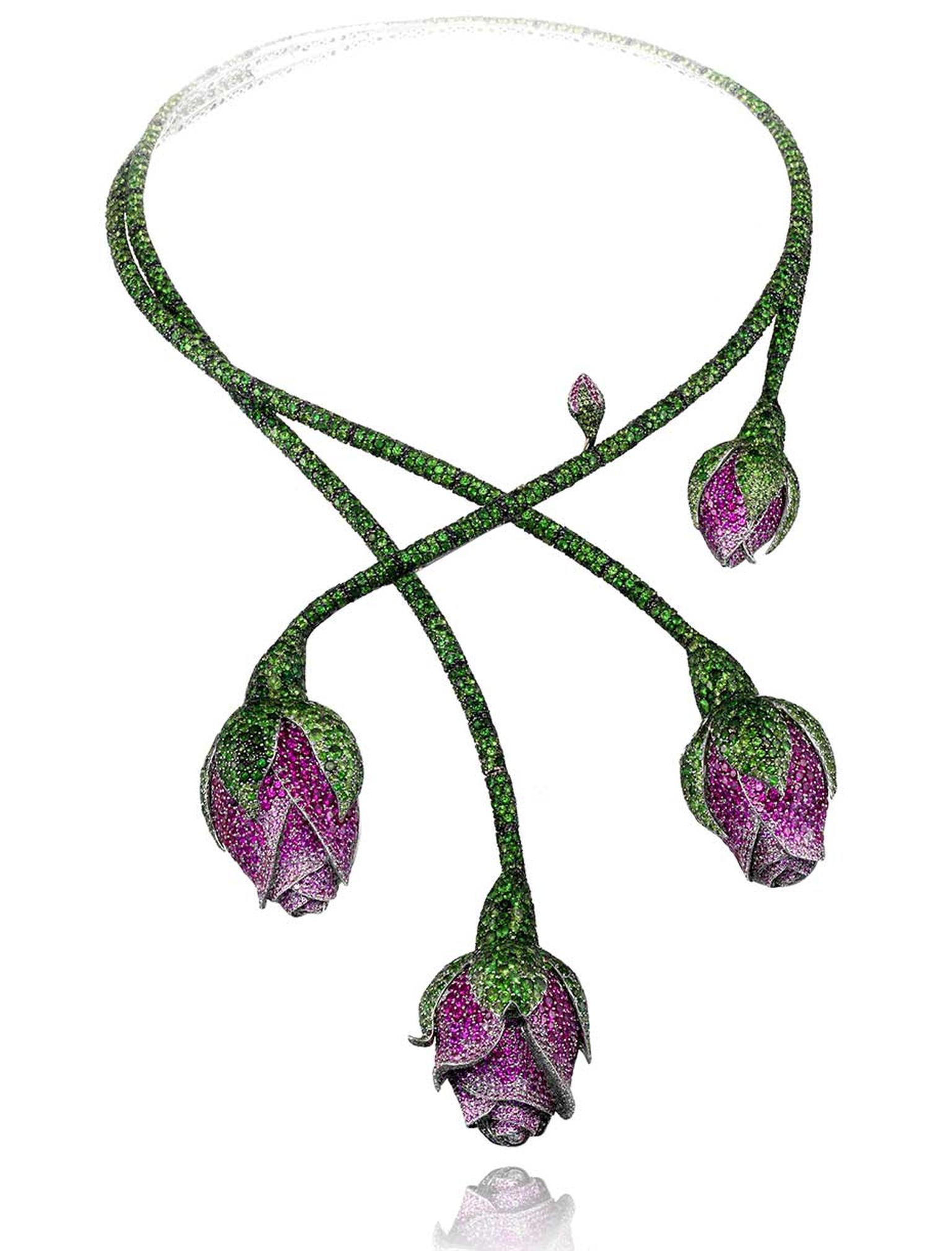 The tsavorite, pink sapphire and ruby floral necklace from Chopard's Red Carpet Collection worn by Cate Blanchett at the Cannes Film Festival
