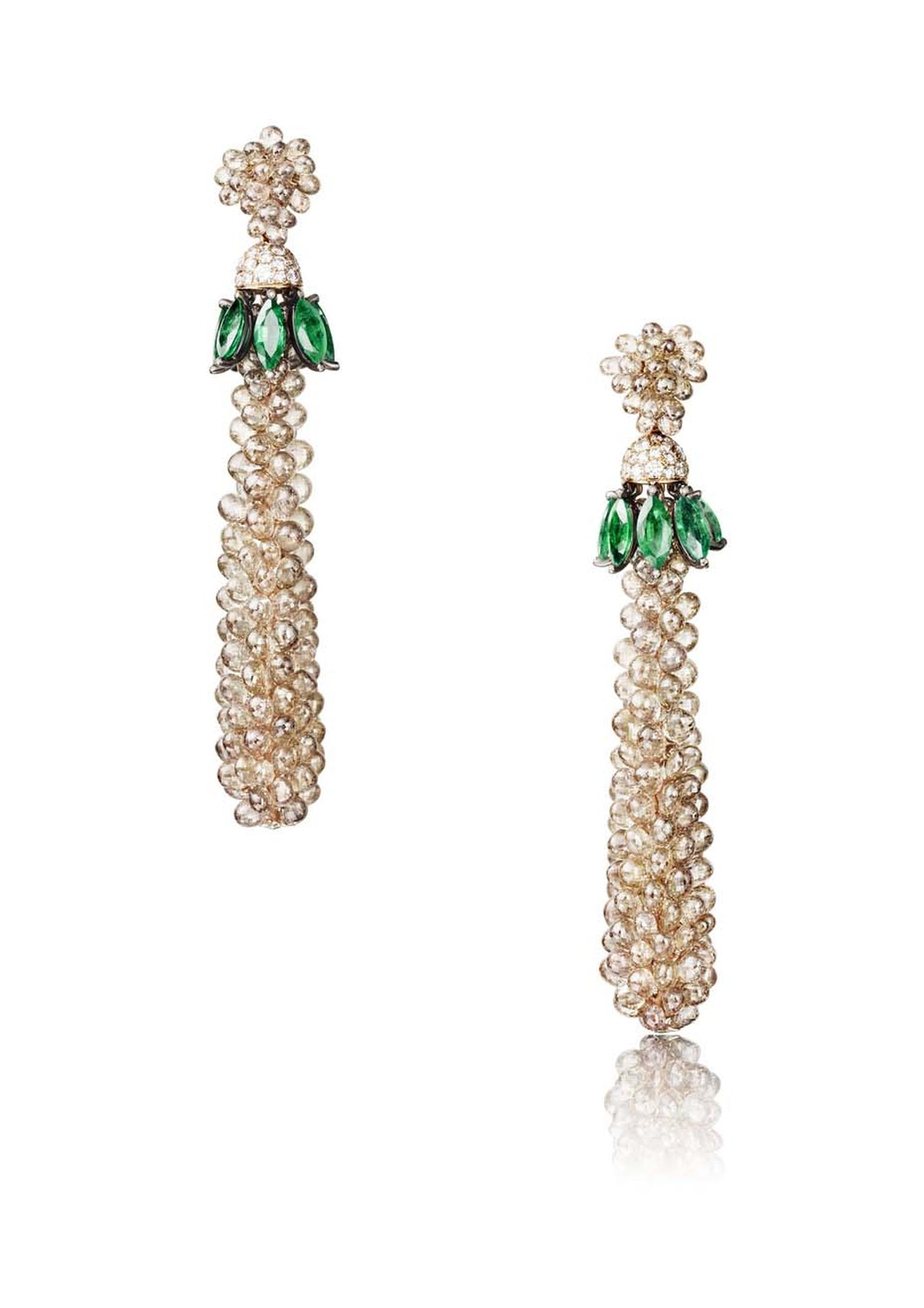 The de GRISOGONO earrings worn by Amber Heard in Cannes, featuring 16 marquise emeralds, 291 brown briolette diamonds, 70 white diamonds, 32 brown diamonds and 26 emeralds