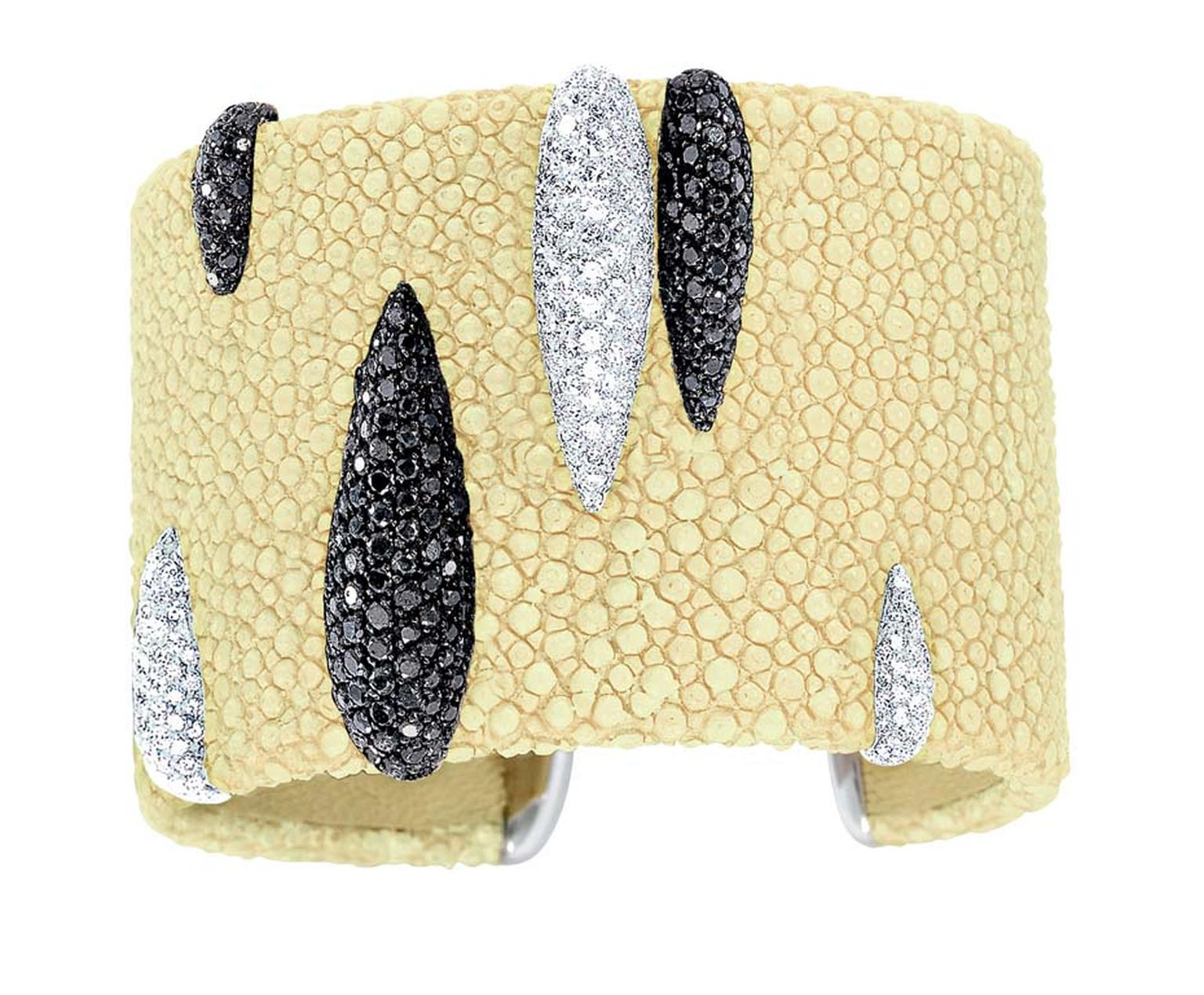 de GRISOGONO Stingray cuff with white and black diamonds, as worn by Cara Delevingne