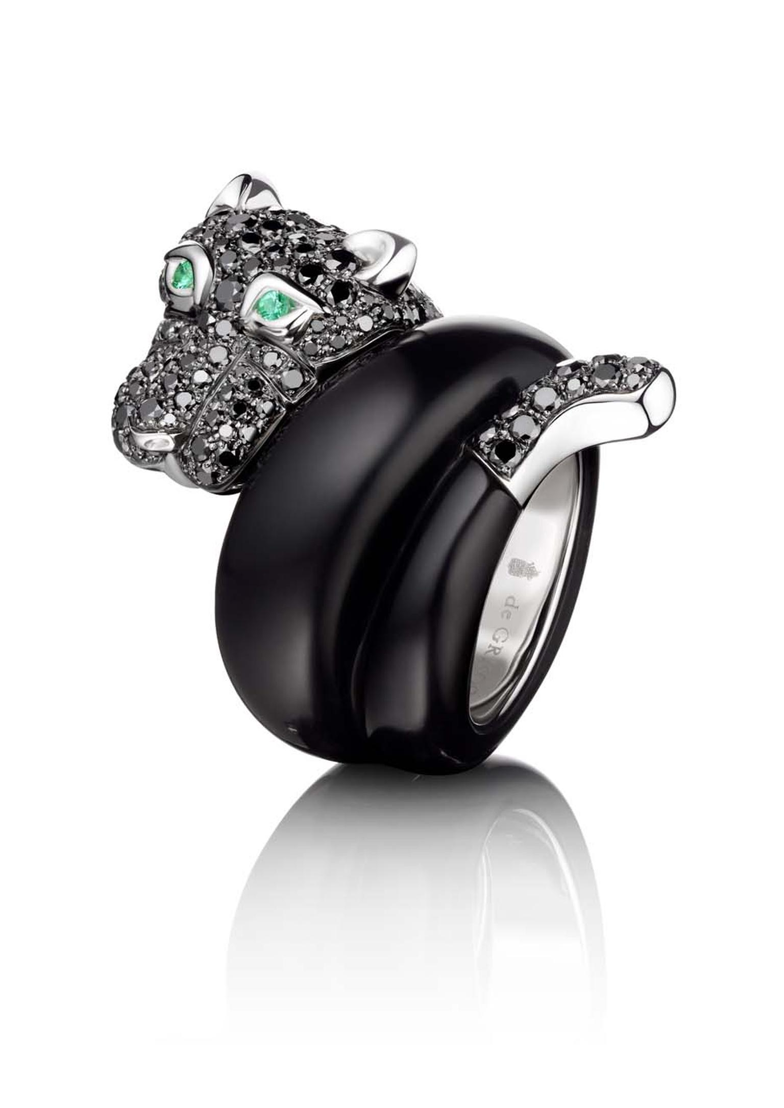 The de GRISOGONO Panther ring, with black and white diamonds, jet and emeralds, worn by Cara Delevingne to de GRISOGONO's Eden Roc party