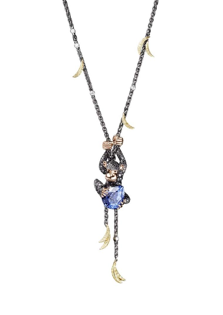 The de GRISOGONO Chimpanzee necklace, set with 771 black diamonds, 247 yellow sapphires, white diamonds and a pear-cut blue sapphire, worn by Cara Delevingne to de GRISOGONO's Eden Roc party