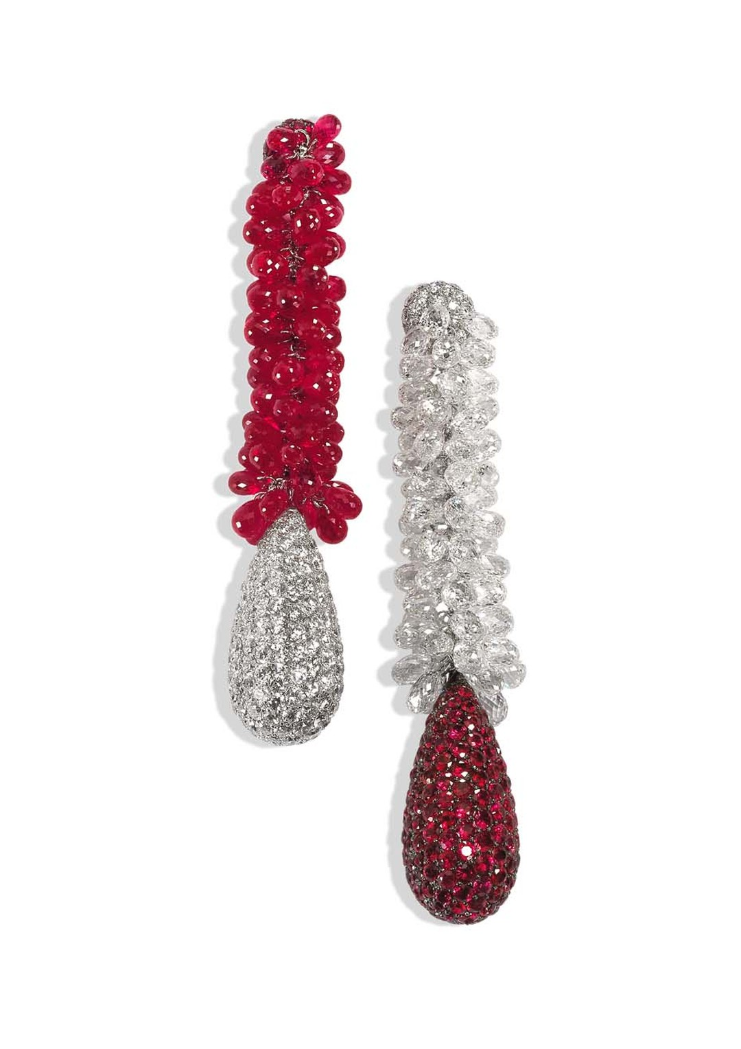 The de GRISOGONO white gold earrings featuring 236 rubies, 236 white diamonds, 81 briolette diamonds and 81 briolette rubies worn by Riley Keough