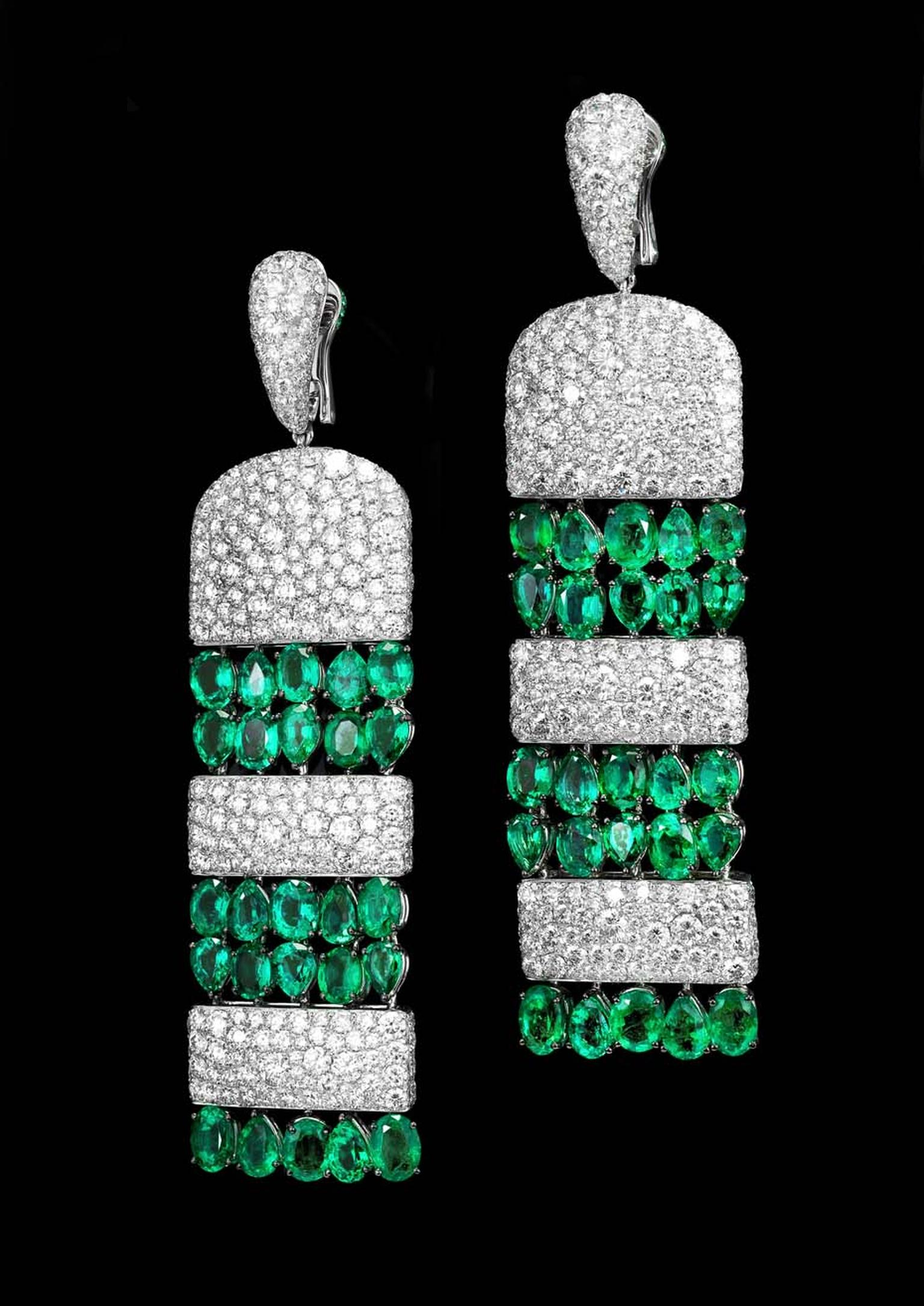 The de GRISOGONO white gold earrings featuring 50 pear-cut emeralds and 726 white diamonds worn by Rosie Huntington Whiteley to the de GRISOGONO party in Cannes