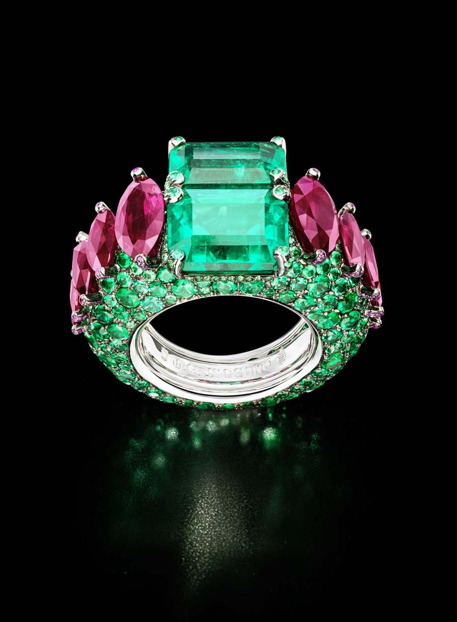 The de GRISOGONO white gold ring featuring two cushion-cut emeralds, 320 brilliant-cut emeralds and 79 rubies, as worn by Sharon Stone at de GRISOGONO's Eden Roc party
