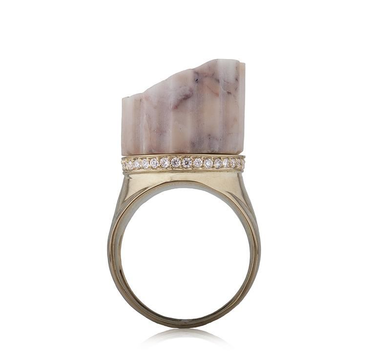 Latest Revival Maiyet gold geometric cage bangle featuring rose cut champagne diamonds (4.88ct).