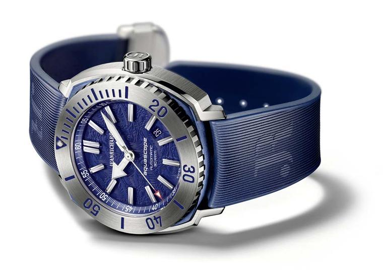 JeanRichard Aquascope watch, with a blue dial inspired by the Hokusai wave