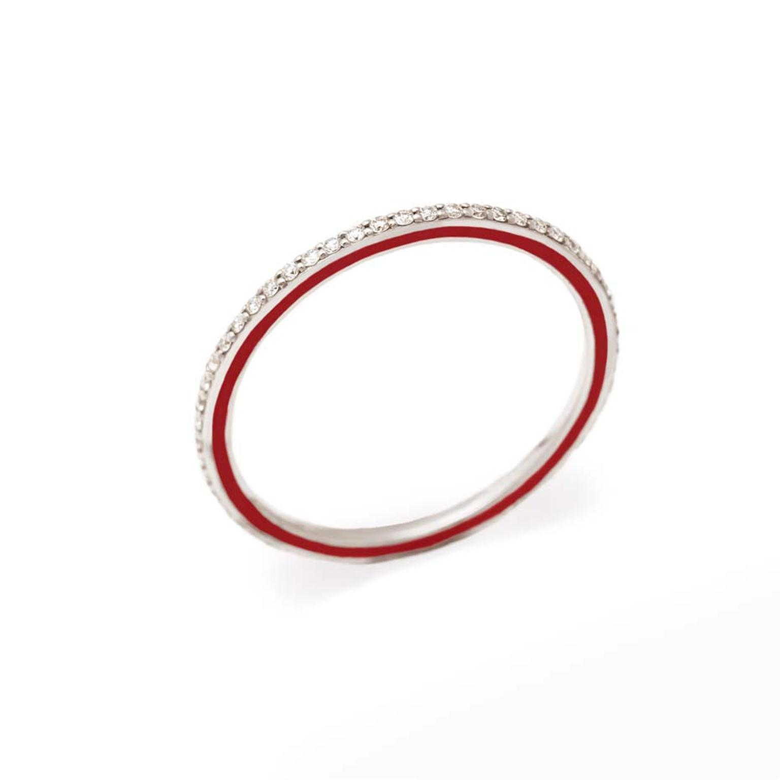 Raphaele Canot Skinny Deco collection white gold ring featuring pavé diamonds and red coral enamel