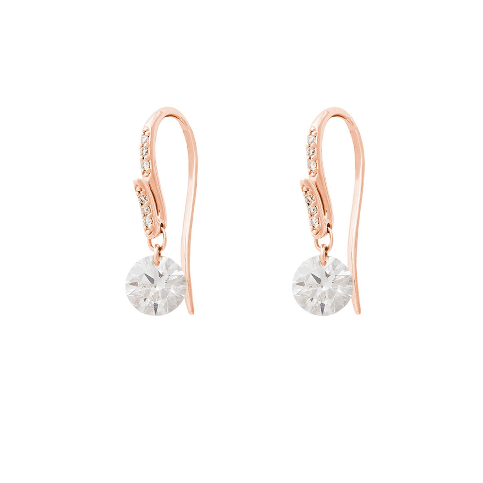 Raphaele Canot Set Free Diamonds collection pink gold and pavé diamond earrings featuring two brilliant-cut diamonds suspended from the centre