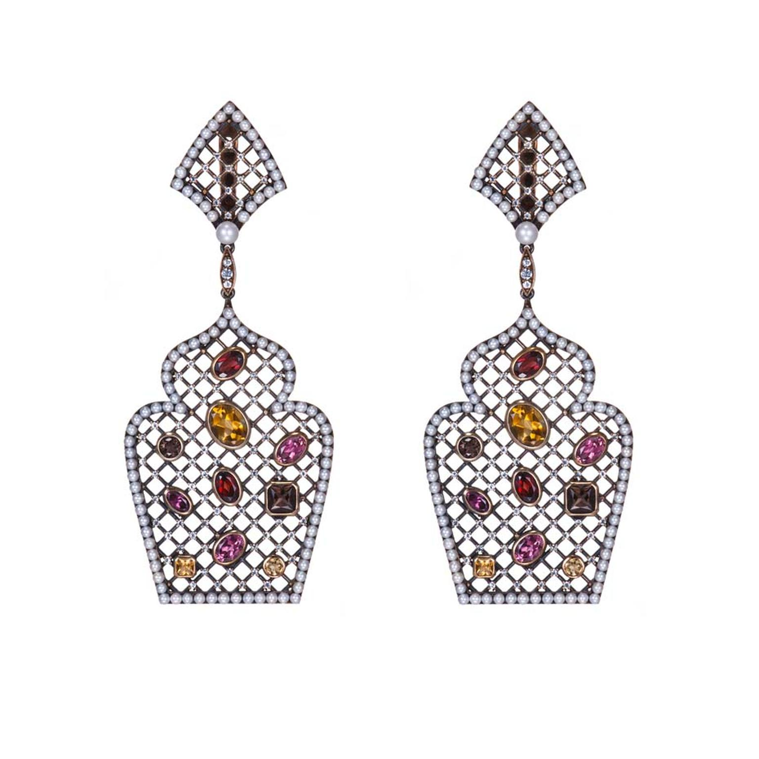 Petr Axenoff silver Radmila earrings with pearls, citrine, garnets, sapphires and amethysts