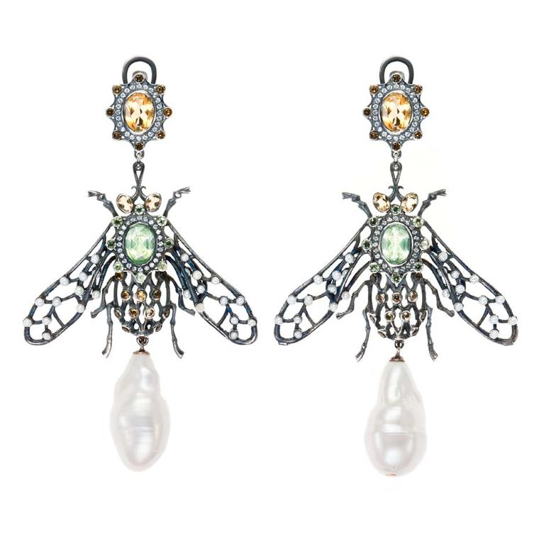 Petr Axenoff silver Mukha Tsokotuha earrings with citrine, tsavorites and topaz