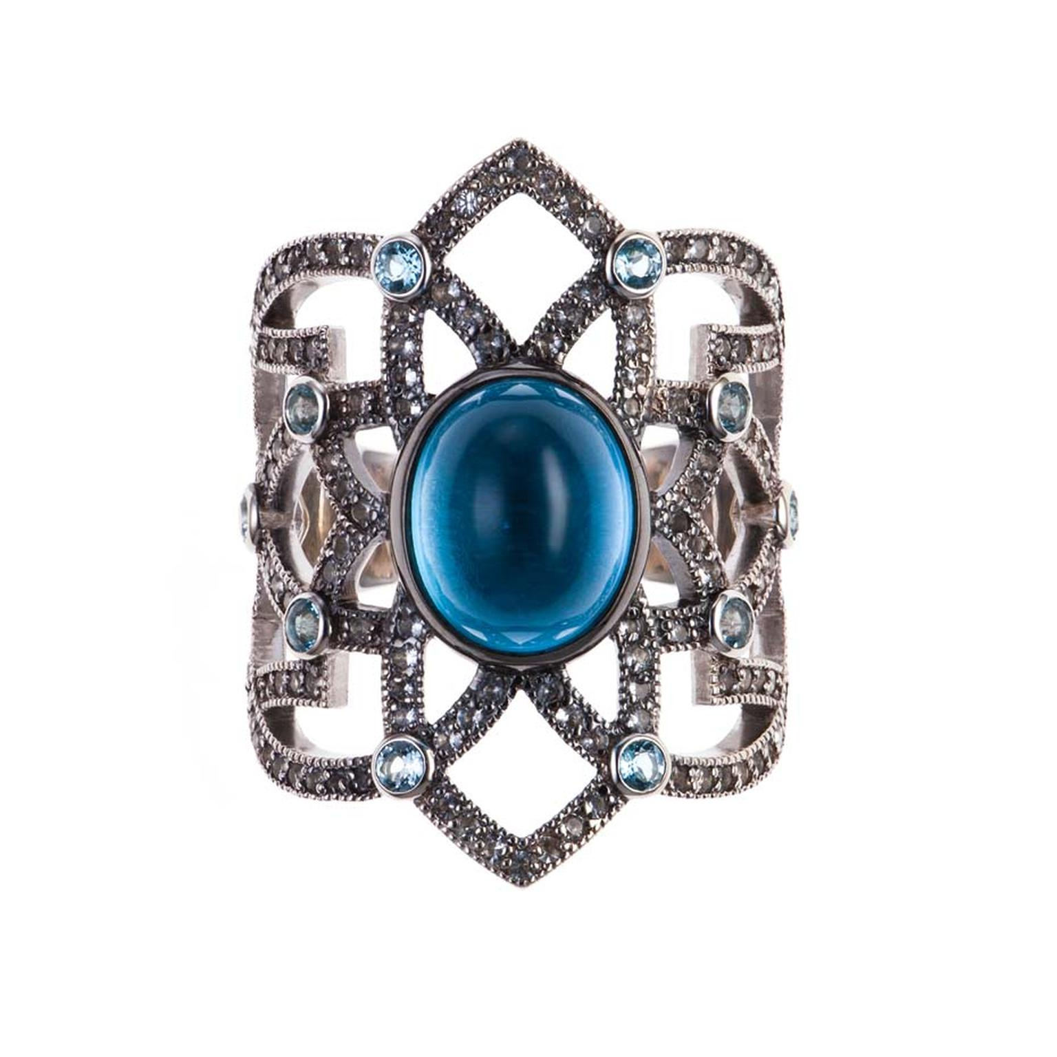 Petr Axenoff silver Tsarevich ring with blue topaz and sapphires