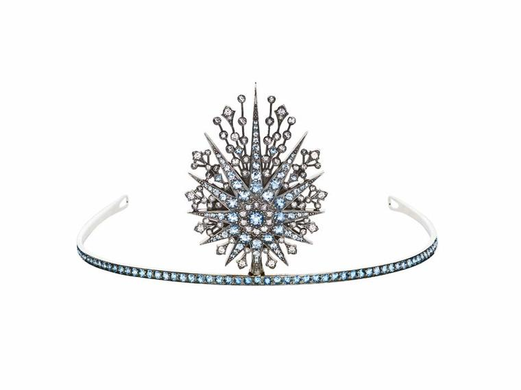 Petr Axenoff silver Princess Swan tiara set with blue and white topaz