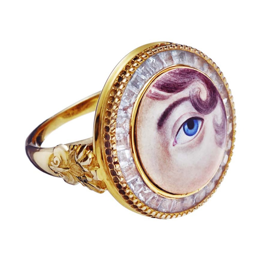 Petr Axenoff Eye Guardian ring in silver with topaz and enamel