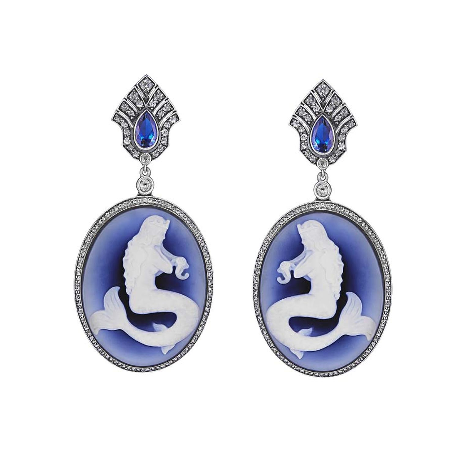 Petr Axenoff silver Undine earrings set with colourless topaz, blue agate and featuring enamel cameos