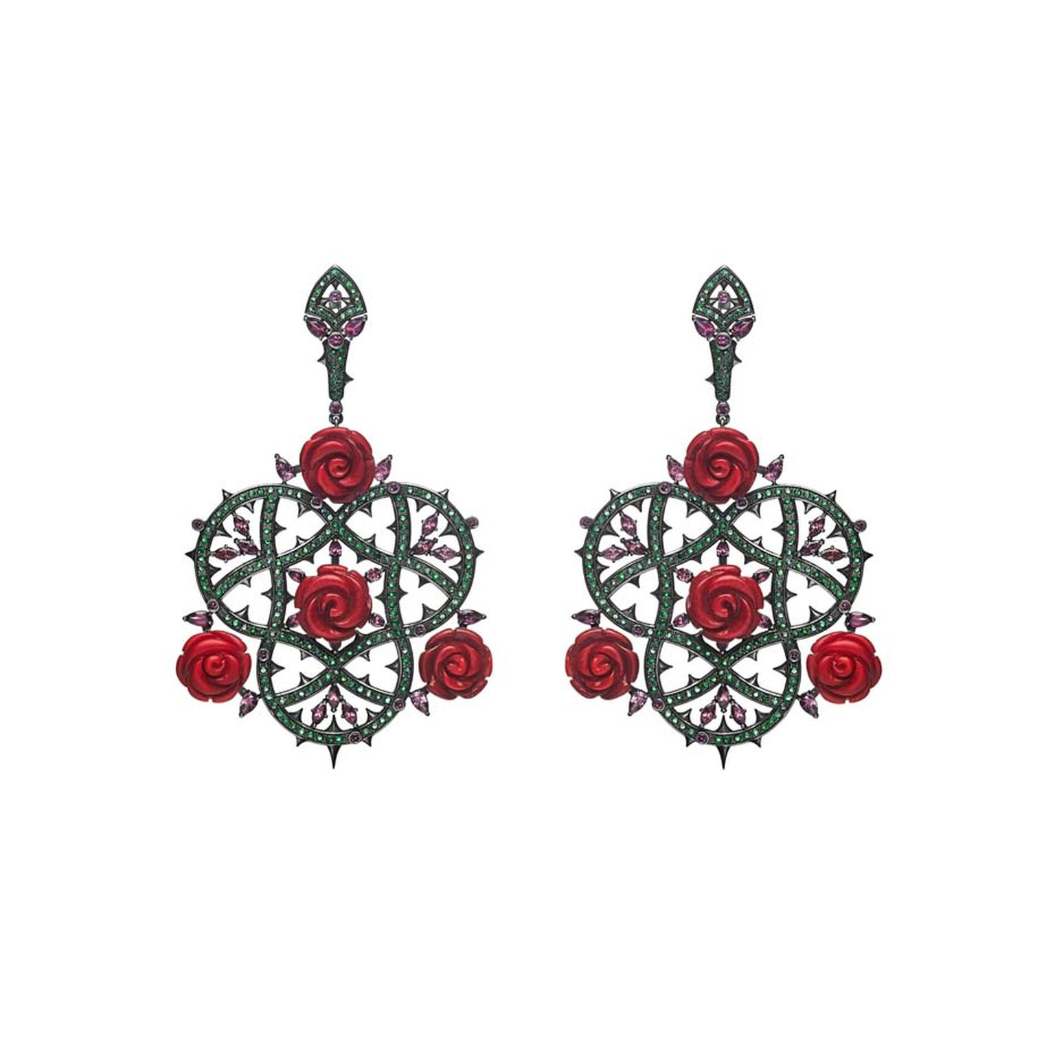 Petr Axenoff silver Rose Bush earrings with emeralds, coral and rhodolites