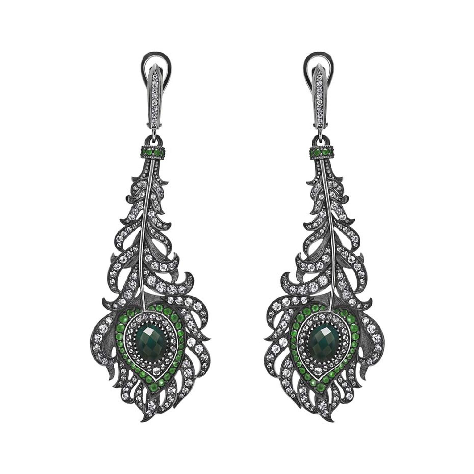 Petr Axenoff silver Peacock's Feather earrings with green agate, tsavorites and white topaz