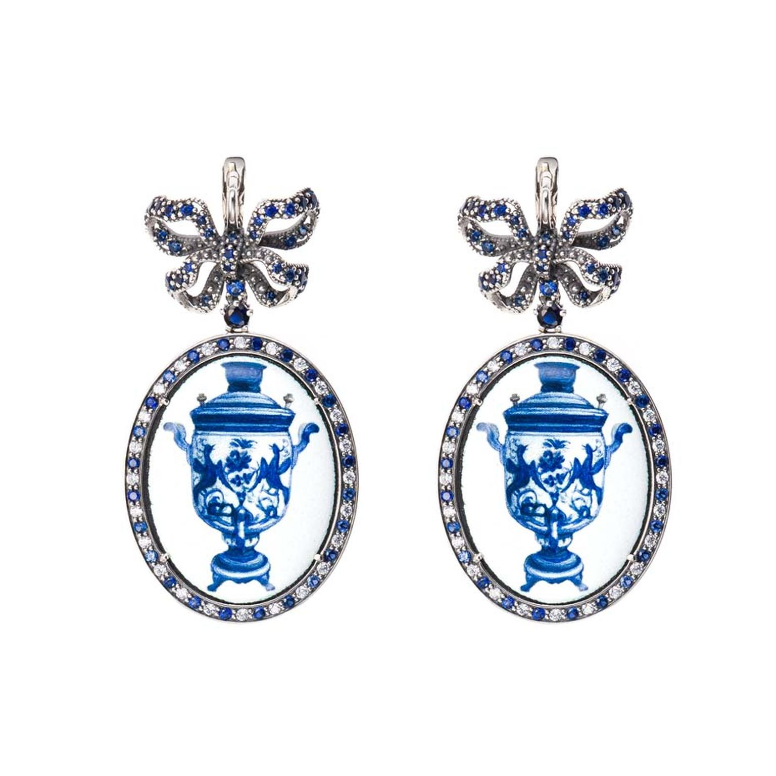 Petr Axenoff silver Samovarchik earrings featuring enamel and sapphires