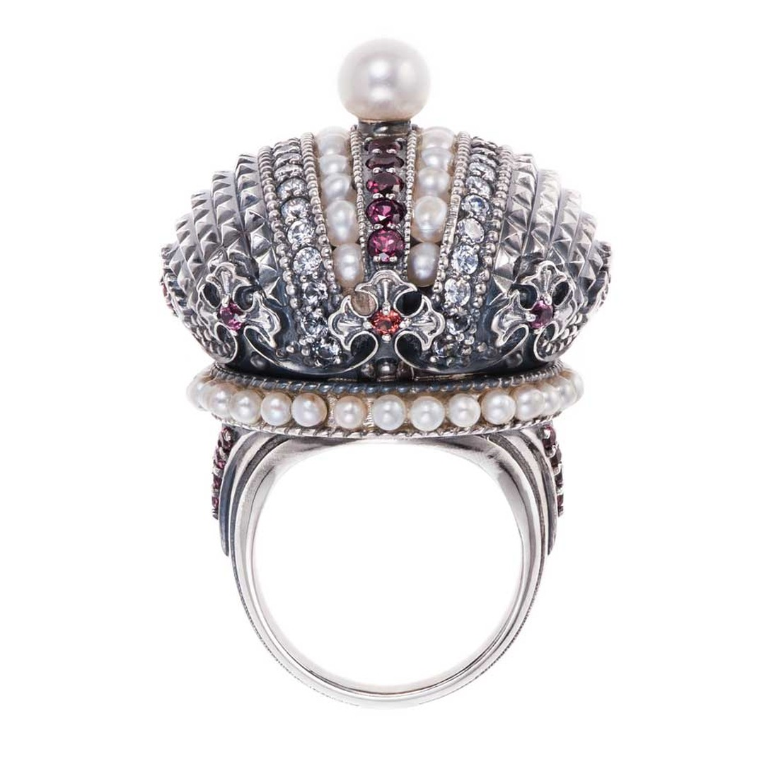 Petr Axenoff silver Ekaterina 2 ring featuring garnets, sapphires and pearls.