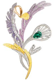 Boucheron's Bouquet d'Ailes brooch from the 2012 Biennale des Antiquaires, set with emeralds, coloured sapphires, fine stones and diamonds