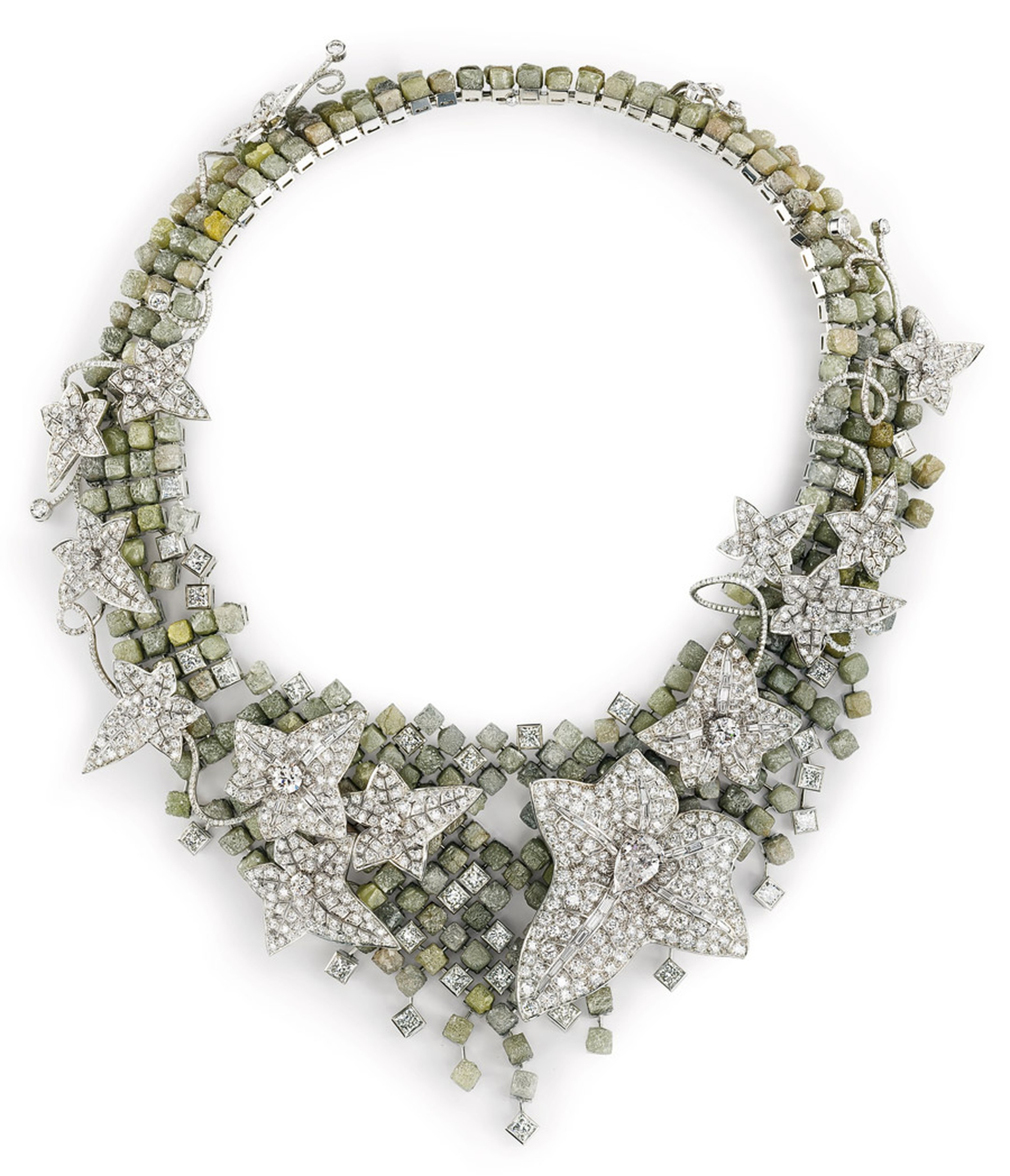Boucheron Lierre de Paris rough and faceted diamond necklace, unveiled at the 2012 Biennale des Antiquaires