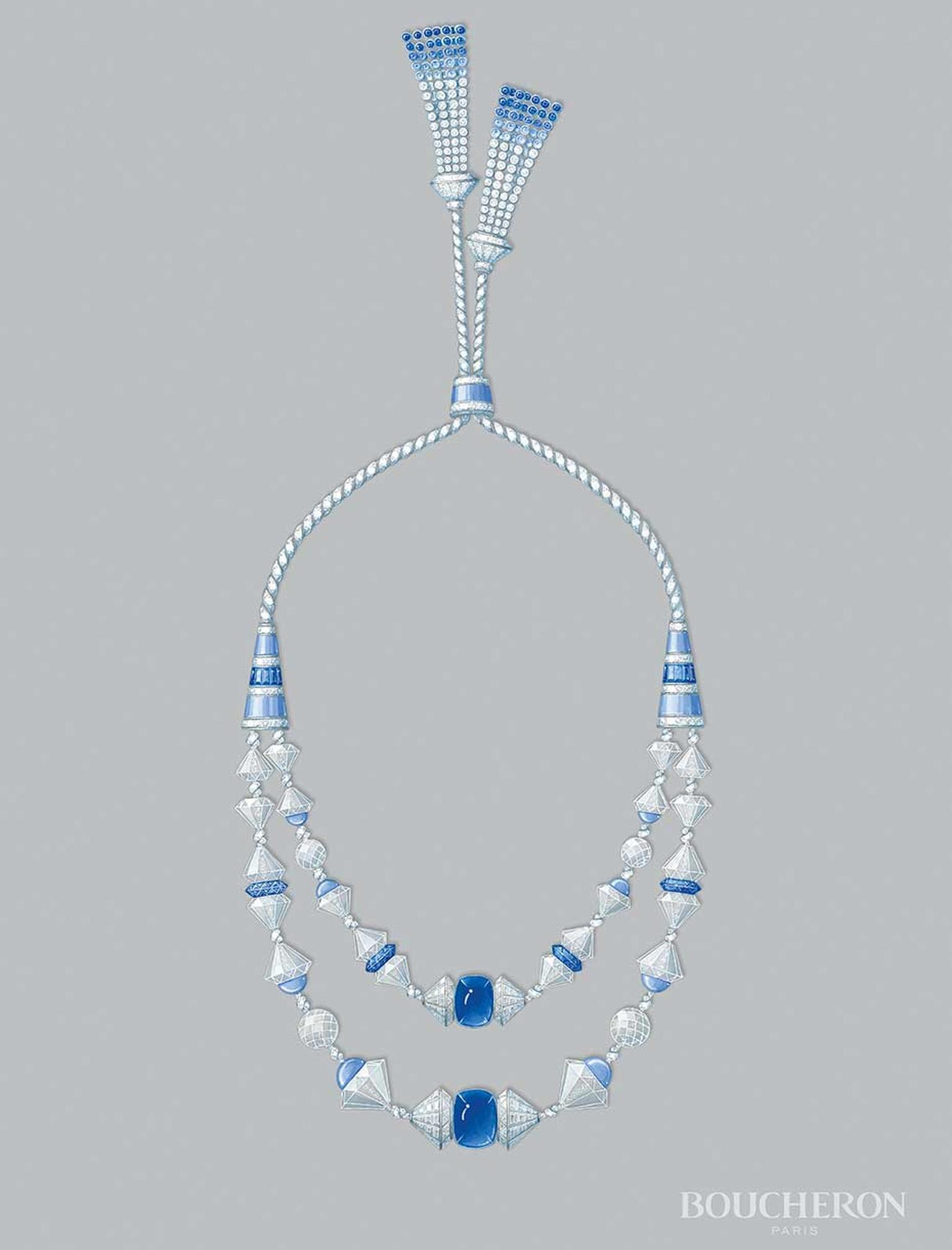 A sketch of Boucheron's Tresor de Perse necklace, part of the Reves d'Ailleurs high jewellery collection that will go on display at the Biennale des Antiquaires 2014