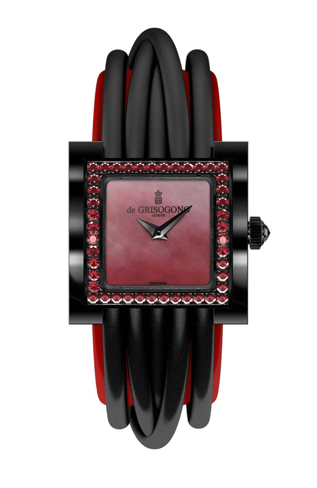 de GRISOGONO Allegra collection watch featuring a steel PVD coated case and a red mother-of-pearl dial with blackened gold dauphine hands and a bezel set with 44 red spinels