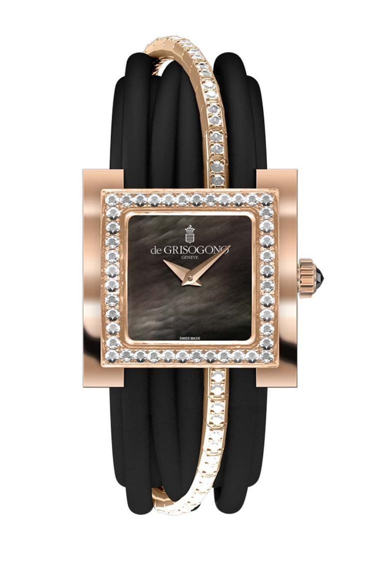 de GRISOGONO Allegra watch in pink gold featuring a black mother-of-pearl dial with pink gold dauphine hands and a bezel set with 44 white diamonds as well as a pink gold clasp set with 40 diamonds