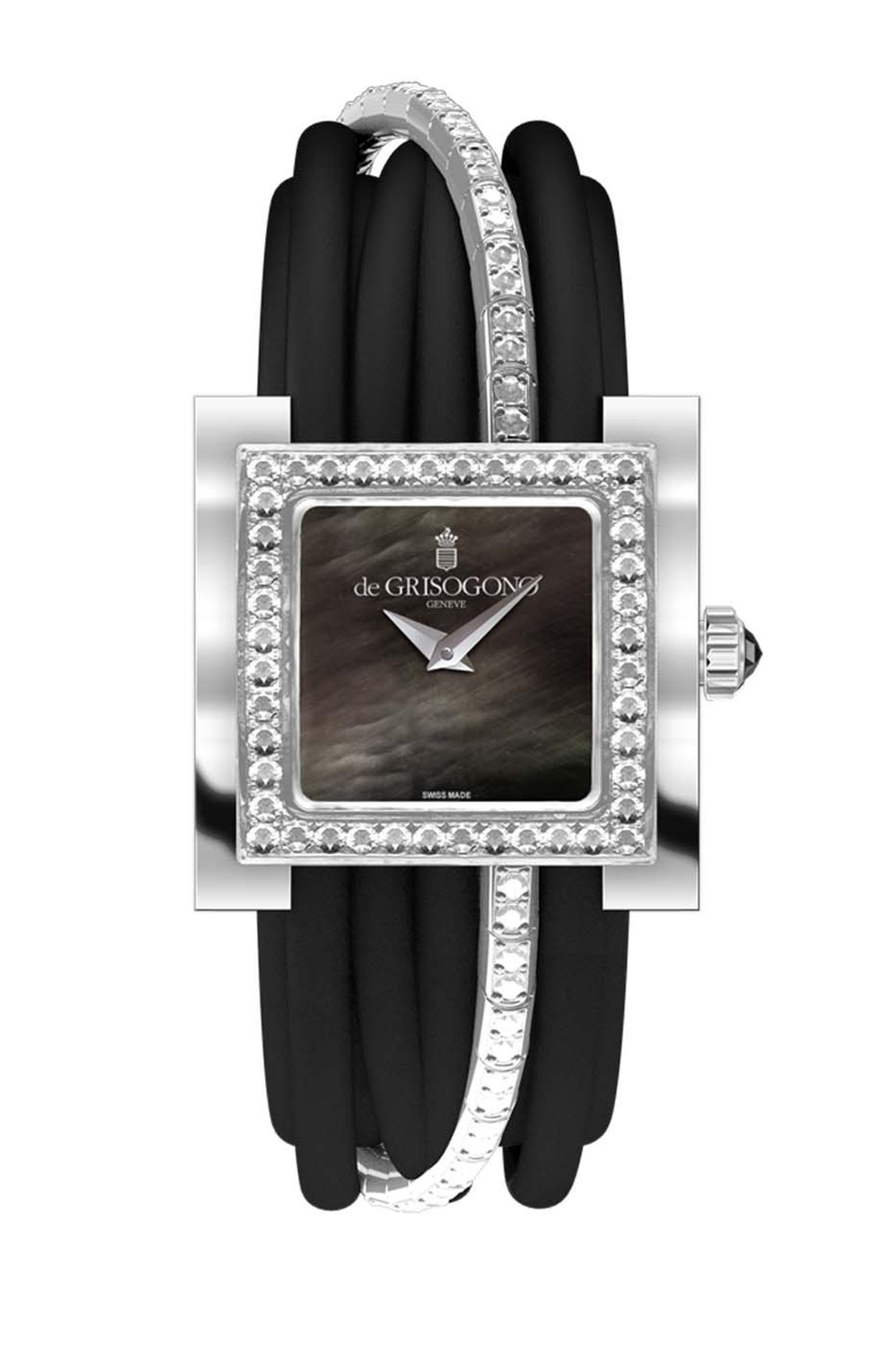 de GRISOGONO Allegra watch in white gold featuring a black mother-of-pearl dial with white gold dauphine hands and a bezel set with 44 white diamonds as well as a white gold clasp set with 40 diamonds