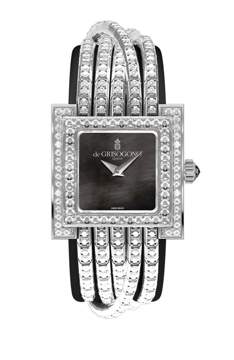 de GRISOGONO Allegra watch in white gold featuring a black mother-of-pearl dial with white gold dauphine hands and a case and bezel set with 309 white diamonds. The white gold clasp is also fully set with 74 diamonds
