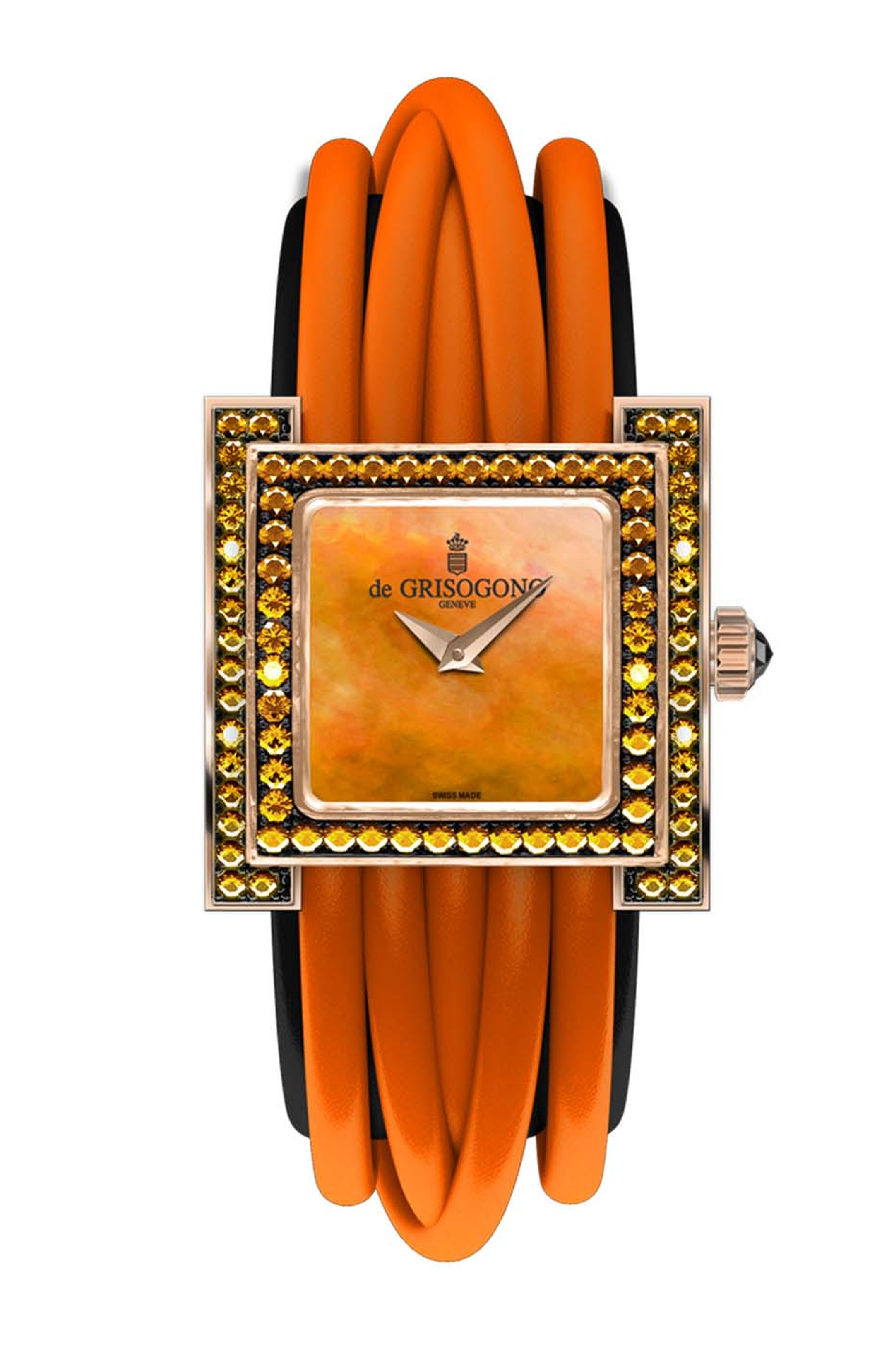 de GRISOGONO Allegra watch in pink gold featuring an orange mother-of-pearl dial with pink gold dauphine hands and a bezel set with 80 orange sapphires
