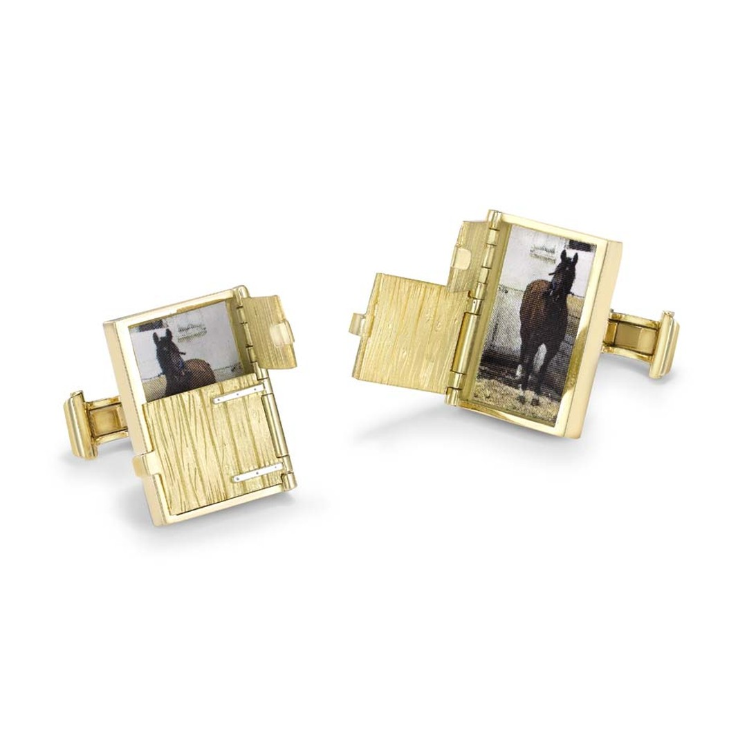 Theo Fennell gold Stable Door cufflinks, handcrafted in London.