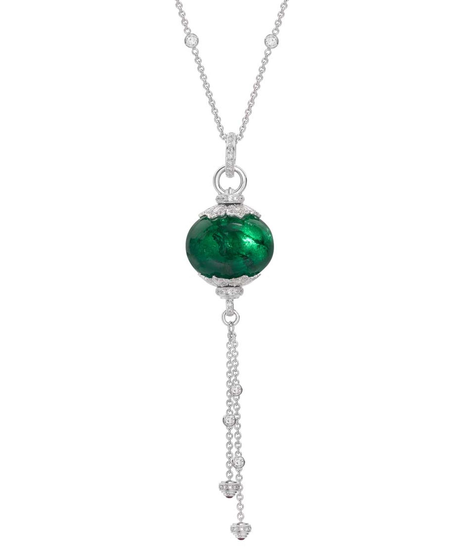 Theo Fennell white gold necklace with pavé diamonds and a Gemfields emerald bead necklace (65.30ct).